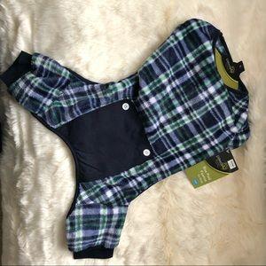 pawslife dog pajamas, blue/green/white fleece, L